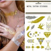pattern tattoo designs - New Design Fashion Tattoos Jewelry Stickers Metal Gold Silver Temporary Tattoo Stickers Temporary Body Art Waterproof Tattoo Pattern DHL