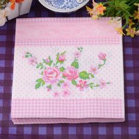 Wholesale 330mmX330mm tissue paper napkin paper printing handkerchiefs for wedding birthday favors gift with pink rose flower
