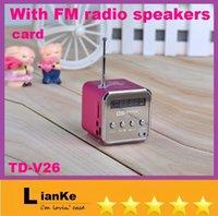 Wholesale LED Screen FM radio Music Speaker TD V26 Mini USB antenna TF for iPhone Portable DHL
