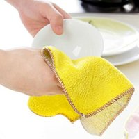 Wholesale 28x28cm Bamboo Fiber Kitchen Clean Towels Bowl Wipping Cloth Dishcloth Hand Washing Cleaning Cloth