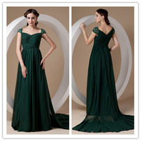 affordable evening gowns - Affordable Dark Green Long A line Beaded Chiffon Ruching Mother of The Bride Evening Dresses Gowns For Ladies ed6863