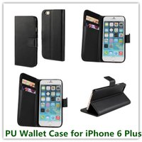 Wholesale 10PCS New Black PU Leather Book Style PU Leather Stand Wallet Case for Apple iPhone Plus quot with ID Card Holder Free