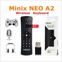 al por mayor x5 inteligente mini pc-MINIX NEO A2 2.4G inalámbrico de voz de aire del teclado del ratón de control remoto para PC portátil Smart TV Box X7 X8 más X8H más X5 X5 mini