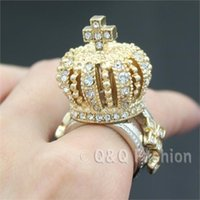 african queen - Top King Queen Crown Tiara Cross Finger Ring Gold D Crystal Cocktail Chunky Jewelry