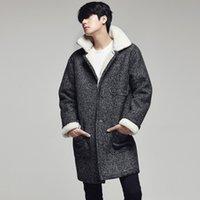 Wholesale 2016men casual long pea coats men cashmere overcoats for men grey men s winter coat with fur collar