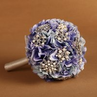 artificial violets - Artificial Handmade Wedding Bouquets for Bride Hand Holding Flowers Hybrid Bridal Bouquet Accessories Violet Hydrangea Pearl Diamond Ribbon