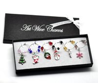 wine glass box - 1 Box Mixed Christmas Wine Glass Charms Table Decorations W Box x25mm x25mm