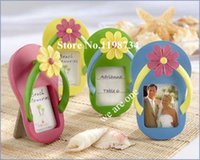 accent card - Wedding Favor quot Flip Flop Photo Frame Place Card Holder with Flower Accent Set of