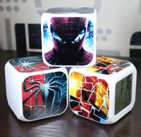 Wholesale Hot Flim Spiderman Europe Christmas Kids Boys Girls Gift Alarm Clock Night Glowing Colorful Change LED Eletronic Childs Clocks H2095