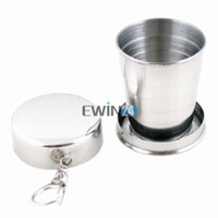 Wholesale 75ml Stainless Steel Folding Collapsible Cup For Outdoor Travel Camping Safe and Healthy Pack of