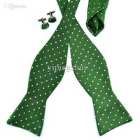 ascot tie silk - Pensee Mens Bow Tie Set Jacquard Woven Silk Self Bow Tie Green Bowtie Sets offer and OEM
