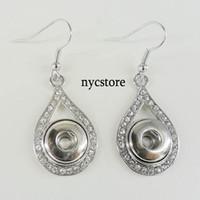 Wholesale Noosa Chunk Button Snap Crystal Rhinestone Water Drop Shape Alloy Earrings Women DIY Jewelry studs Interchangeable mm Button Dangles