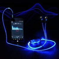 studio flash - Visible Flowing LED Flashing Light Glow Sport Stereo In ear Headphone Headset Earbud Earphone with Mic for All Smart Phone