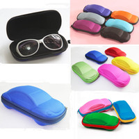 Wholesale 2015 NEW Solid Color Kids Car Shaped Packaging Case Box Compression Eye Glasses Storage Sunglasses Protector Random Color