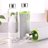 Wholesale 360ml Sakura Dandelion Design Portable Glass Bottle for Water Outdoor Hiking Unbreakable Clear Water Bottle Cup