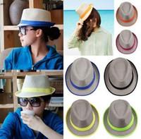 Cheap Men Women Fashion Flax Fedora Straw Panama Hat Sun Beach Caps with Neon Brim and Ribbon 6 Colors to Choose