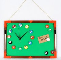 analog boards - Message Board Blackboard DIY clock wall clock billiards snooker clock creative fashion personality mute in stock
