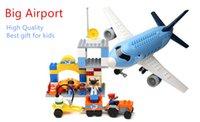 big airport - Big Building Blocks Set Happy Airport Super Big Plane Blocks Funny Educational Toys for Children Kids Best Gift Compatible