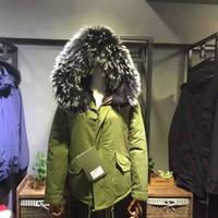 Mr Mme Black Furs Parkas capuche avec Real Raccoon fourrure fourrure fourrure de lapin Femmes Green Jacket