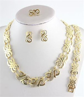 Wholesale Hot K Gold Plated Crystal Necklace Bracelet Earring Ring Wedding Jewelry Set