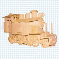 Wholesale 3D Wooden Puzzle Jigsaw Locomotive Train Model Toy DIY Kit for Children And Adults