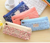 Cheap Flower Print 4 Color Girls Pencil Bags School Supplies Children Stationery Funky Korean Fashion Students Pencil Cases Bag Pendant K2936