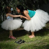Wholesale Sexy Girls Mini Clothes - 2016 Tutu Skirt Mother Daughter Dresses White Ball Gown Tulle Mini Girls Party Dress Cheap Family Clothing Party Dresses