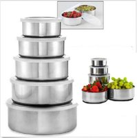 bamboo solutions - Home Solutions PC Stainless Steel Bowl Set with Plastic Lids Food Storage Box