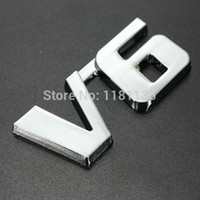 Wholesale New V6 D Chrome Car Badge Sticker Decal Emblem Trunk Side Logo ABS Auto Adhesive