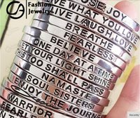 inspirational jewelry - 2015 Trend Silver Hand Stamped Personalized Message Stackable Inspirational Mantra Cuff Bangle Bracelet For Women Gift Jewelry