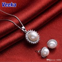pearl - Veeka jewelry sets bridal necklace and earring sets sterling silver freshwater pearl necklace set stud earrings for women
