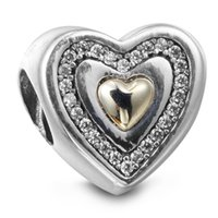 Encanto de plata del corazón con el corazón del oro 14K y CZ claro 100% 925 granos de la plata esterlina encajonaron la pulsera auténtica de la pulsera de los encantos de Pandora DIY