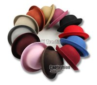 Wholesale 2015 Autumn Winter British Style Top Hat Women Vintage Round Top Trilby Wool Blending Jazz Cap More Colors