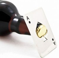 Wholesale 2015 New Stylish Hot Sale pc Poker Playing Card Ace of Spades Bar Tool Soda Beer Bottle Cap Opener Gift