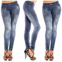 Wholesale Hot Sale Fashion New Stylish Faux Jean Denim Jeggings For Women Leggings Pants for Girls Lady Leggins Trousers