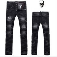 angle jeans - New skull designs famous brand fashion Classic Men s slim jeans Denim mens trousers small angle pants scratched jeans