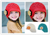 Cheap DHL FREE Christmas Crochet Handmade Knitted Baby Flower Crochet Hat Spring Crochet Girls' Hat Baby Crocheted Beanie Caps Christmas Gift