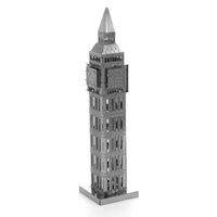 Wholesale Big Ben d model of miniature DIY metal nanometer metal three dimensional jigsaw puzzle silver