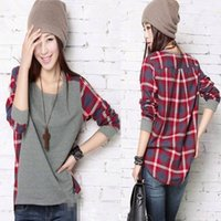 Wholesale New Hot Selling Ladies Girls Women Plaid Long sleeved Fashion Round Neck T shirt Loose Stitching Hooded Clothes