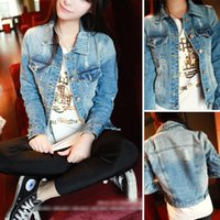 blue jean jacket - Fashion korean style vintage ripped blue jean jackets women jaquetas femininas veste en jean femme denim jacket chaquetas mujer