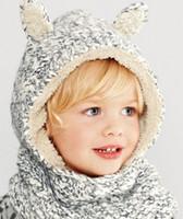 Wholesale Children Fleece Hat Scarf Wholesale - E.mirreh baby crochet Animal hats Beanies Ski Cap Fleece Hat Plush cap Warm hat winter cap with Earmuff Scarf Children Cap