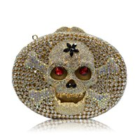 Wholesale Unique SKULL Vintage Crystal Women Evening Bags European and American Style Valentine Ladies Clutch Party Bag Mini Smart Phone Clutches