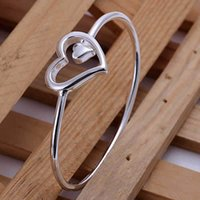 tungsten bracelet - B018 Lose Money Promotions silver bangle bracelet silver fashion jewelry Big and small heart bangle