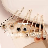 Cheap Freeshipping (6 PCS LOTS) Long Rhinestone Hair Clip Fashion Hair Jewelry For Women Crystal Hair Accessories