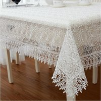 Wholesale White High Quality Elegant Polyester Satin Full Lace Tablecloth Wedding Table Cloth Cover Overlays Home Decor Textiles XYS012