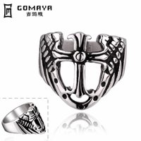 Wholesale The ancient Mayan Ring creative retro Knight shield ring Punk ring Retro cross titanium rings