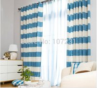 Wholesale Modern Stripe Zigzag Blue Curtain with Circles Curtain Rings to hook BedRoom Sitting Room Home Decro cm X m pc