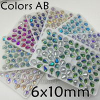 Wholesale 72pcs Teardrop Crystal Siam AB Violet Emerald Topaz MORE Colors AB x10mm Droplet Glass Crystal Fancy Stone For Jewelry