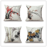 bamboo style chairs - Wintersweet Bamboo Orchid Sofa cushion cover Styles Chinese Culture Ink Paint pillow cover Bicycle pillow case sofa chair decoration gift