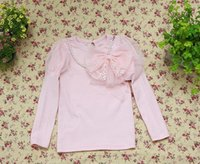 fabric tulle - Comfortable Cotton Fabric Made Girls Autumn Winter Tulle Splicing Shoulders Shirts With Pearl Necklace And Lace Bowknot Decoration E1893